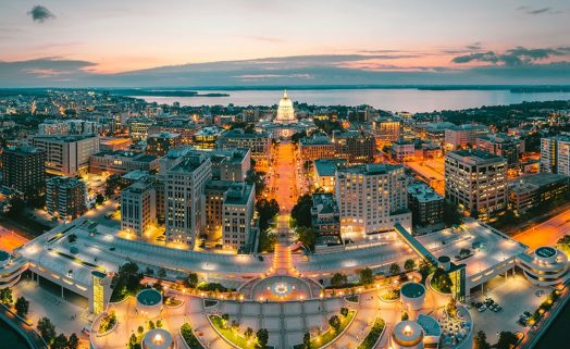 Aerial view of downtown Madison at night